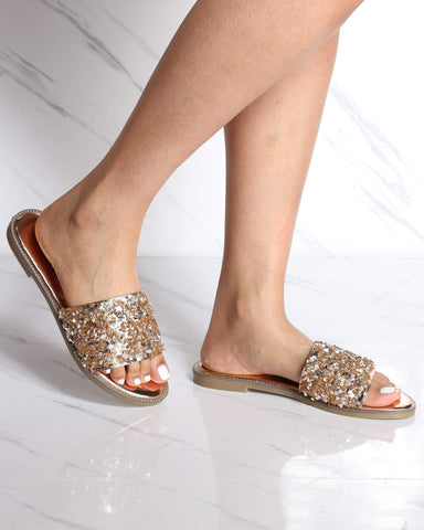 Women's Jade Shining Slide - Rose Gold-VIM.COM