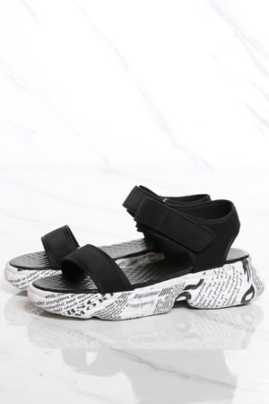 Women's Velcro Sproty Sandal - Black