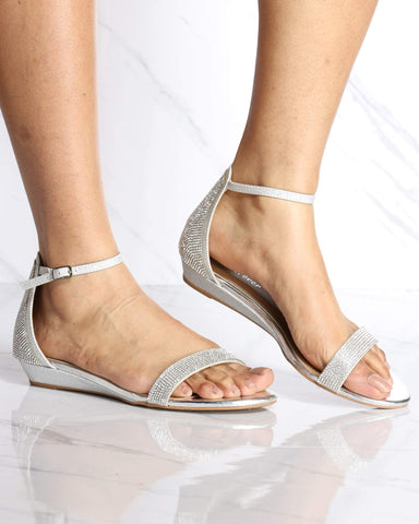 Women's Diana Kitten Ankle Strap Wedge - Silver