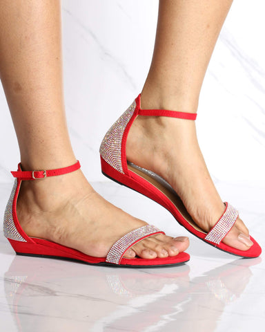 Women's Diana Kitten Ankle Strap Wedge - Red