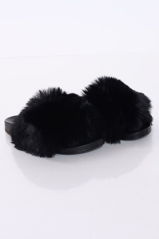 Women's Lorrane Fur Slide - Black-VIM.COM