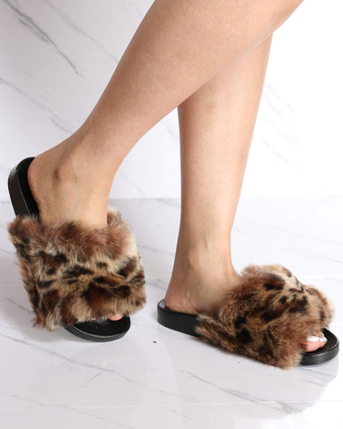 Women's Lorrane Fur Slide - Leopard