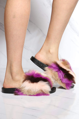 Women's Lorrane Fur Slide - Multi-VIM.COM