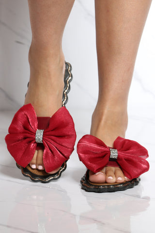 Women's Boxed Big Bow Slide - Red