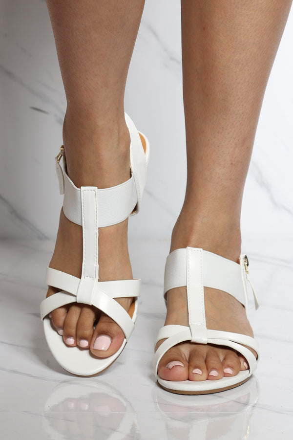 Women's Side Zipper Kidden Elastic Sandal - White-VIM.COM