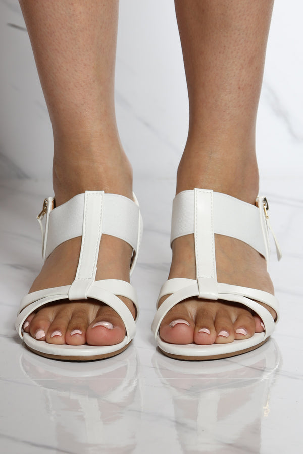 Women's Side Zipper Kidden Elastic Sandal - White