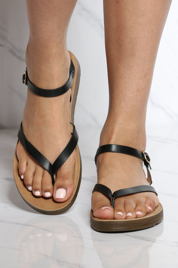Women's Soft Bottom Sandal - Black-VIM.COM