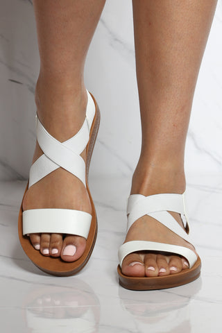 Women's Criss Cross Elastic Sandal - White