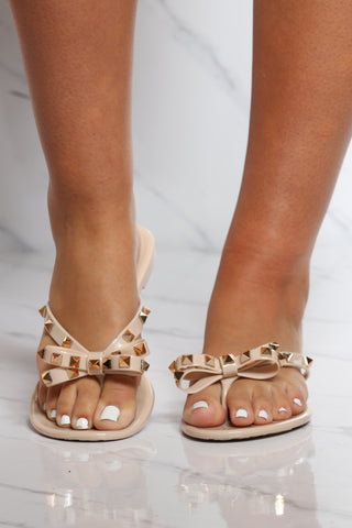 Women's Bow Studs Jelly Flip flop - Nude-VIM.COM