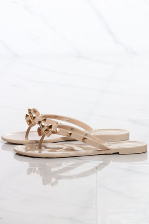 Women's Bow Studs Jelly Flip flop - Nude