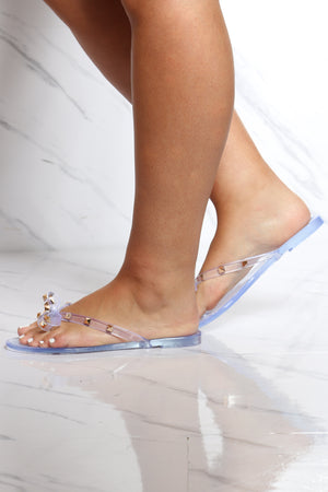 Women's Bow Studs Jelly Flip Flops - Clear-VIM.COM