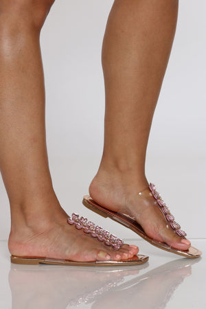 Women's Rhinestone Clear Strap Sandal - Rose Gold