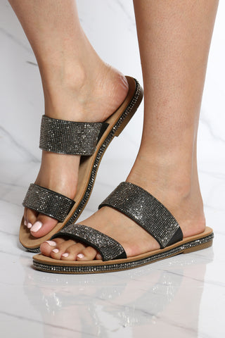 Women's Silver 2 Band Rhinestone Sandal - Black