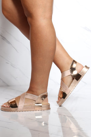 Women's Criss Cross Soft Insole Sandal - Rose Gold-VIM.COM