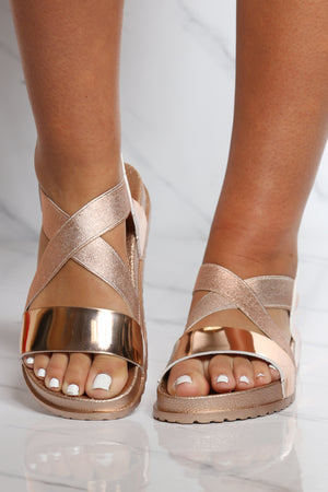 Women's Criss Cross Soft Insole Sandal - Rose Gold
