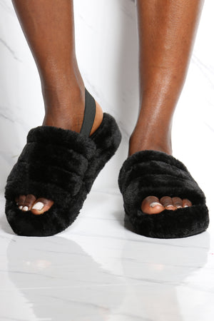 Women's Faux Fur Sling Back Sandal - Black-VIM.COM