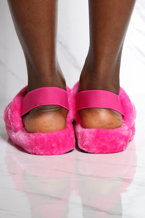 Women's Faux Fur Sling Back Sandal - Pink