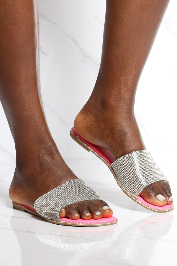 Women's One Band Rhinestone Slide - Pink-VIM.COM