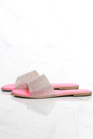 Women's One Band Rhinestone Slide - Pink