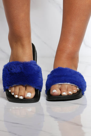 Women's One Band Fur Slide - Blue-VIM.COM