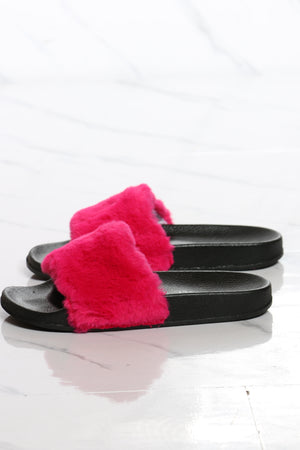 Women's One Band Fur Slide - Pink