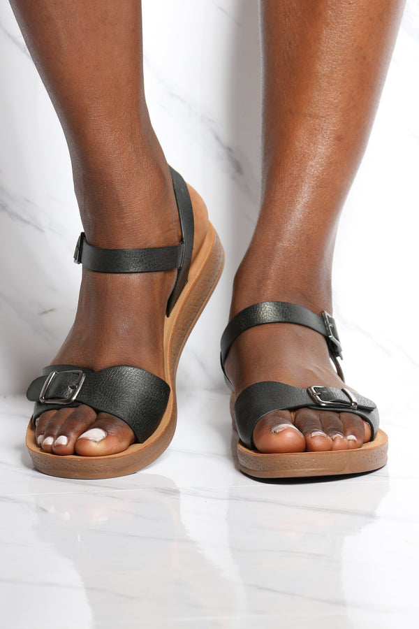 Women's Soft Bottom Comfort Sandal - Black-VIM.COM