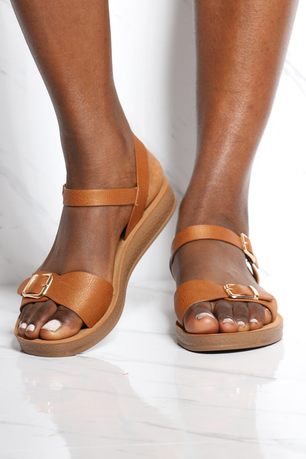 Women's Soft Bottom Comfort Sandal - Tan-VIM.COM