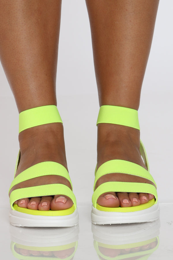 Women's 3 Elastic Bands Sporty Sandal - Neon Lime