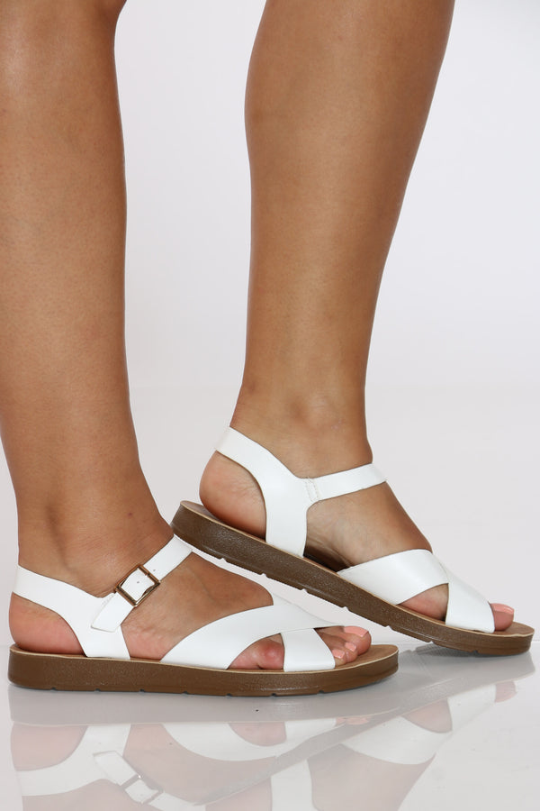 Women's Criss Cross Soft Bottom Sandal - White-VIM.COM