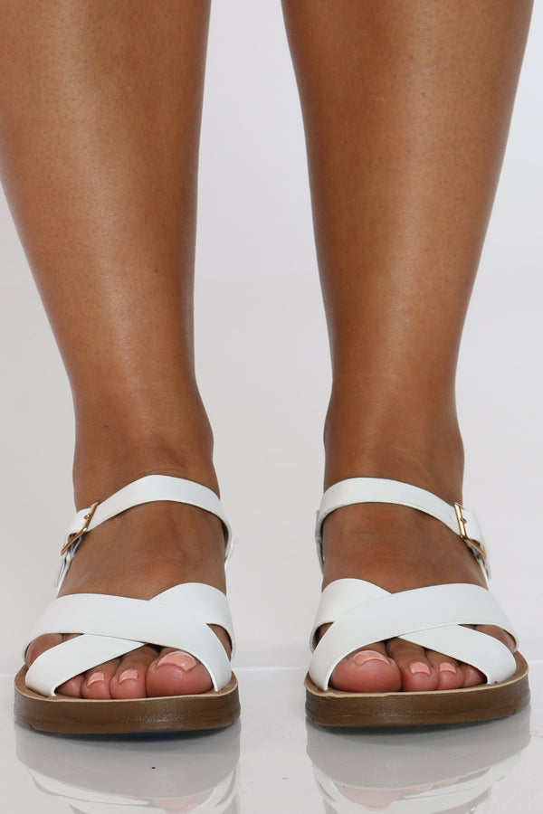 Women's Criss Cross Soft Bottom Sandal - White