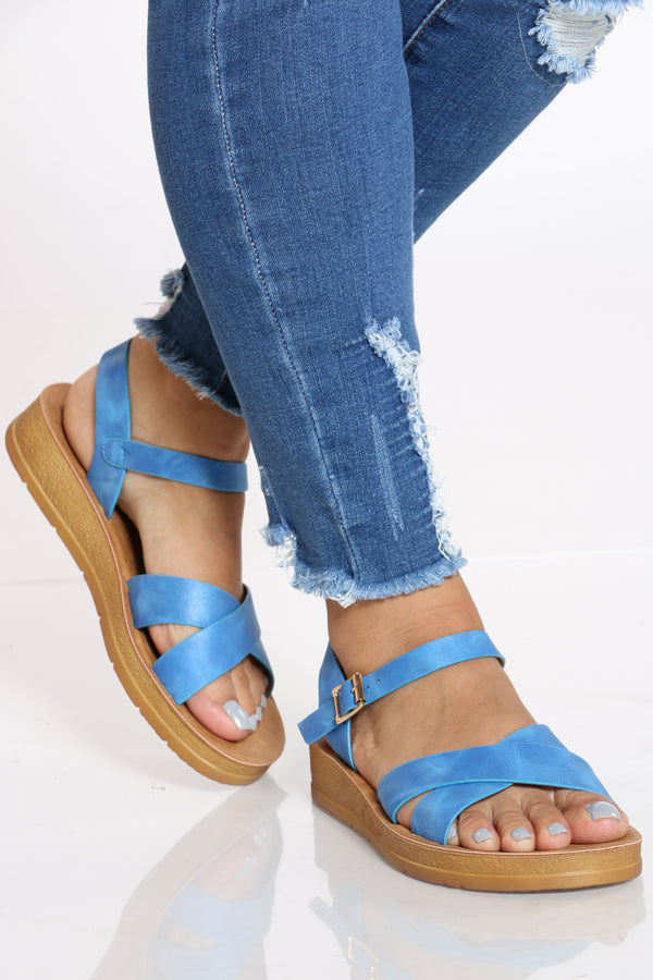 Women's Criss Cross Soft Bottom Sandal - Blue-VIM.COM