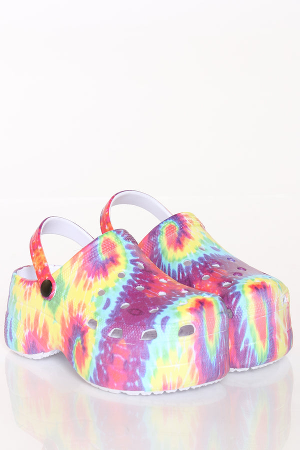 Women's Hi-Platform Open Back Slide - Tie Dye