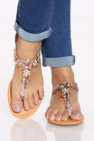 Women's Gold Flower Rhinestone T-sandal - Rose Gold-VIM.COM