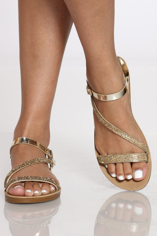 Women's Rhinestone Soft Bottom Sandal - Gold-VIM.COM