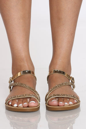 Women's Rhinestone Soft Bottom Sandal - Gold