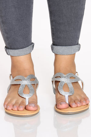 Women's Braided Sandal - Silver