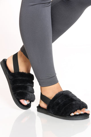 Women's Sling Back Fur Sandal - Black-VIM.COM