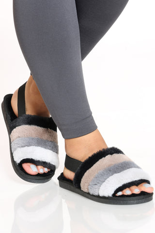 Women's Sling Back Fur Sandal - Black Mult-VIM.COM