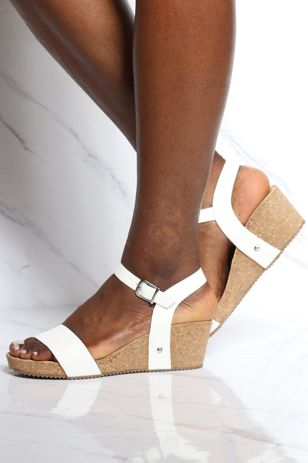 Women's Footbed Low Wedge - White-VIM.COM