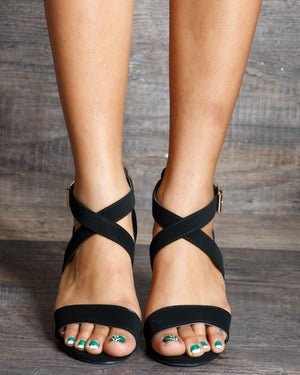 VIM VIXEN Nadia One Back Criss Cross Low Chunky Heels - Black - ShopVimVixen.com
