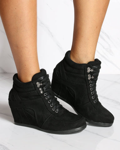 VIM VIXEN Courtney Lacy Wedge Sneaker - Black - ShopVimVixen.com