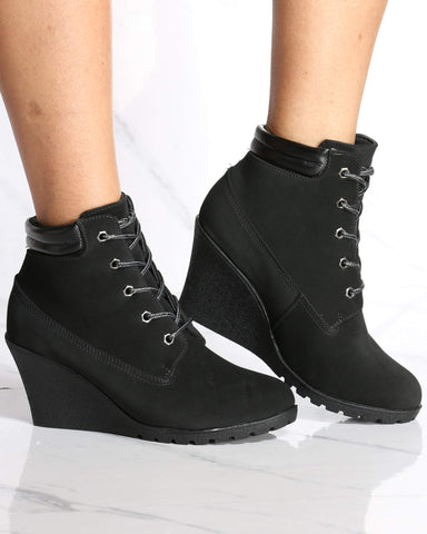 Women's Elena Wedge Bootie - Black-VIM.COM