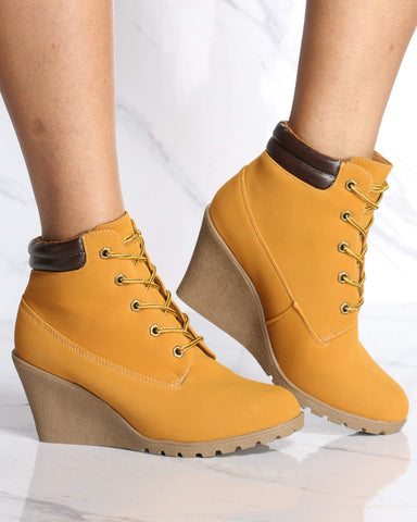 Women's Elena Wedge Bootie - Wheat-VIM.COM