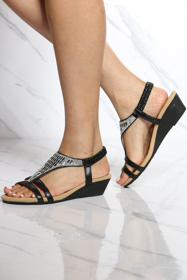 Women's Shine T-sandal Wedge - Black