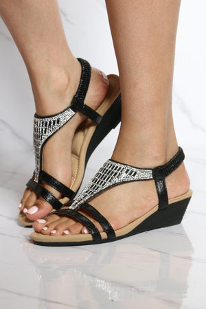 Women's Shine T-sandal Wedge - Black-VIM.COM