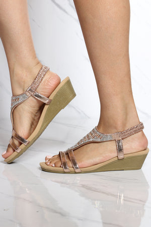 Women's Shine T-sandal Wedge - Rose Gold