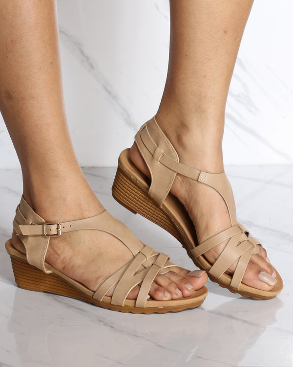 Women's Laureen Strappy Wedge Sandal - Taupe-VIM.COM