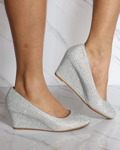 Women's Maddie Slip On Rhinestone Wedge - Silver-VIM.COM