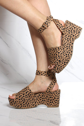 Women's Diriya Ankle Wedge Sandal - Cheetah-VIM.COM