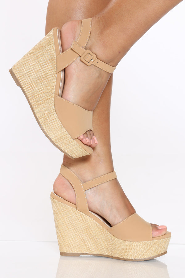 Women's Ankle Strap Wedge - Tan